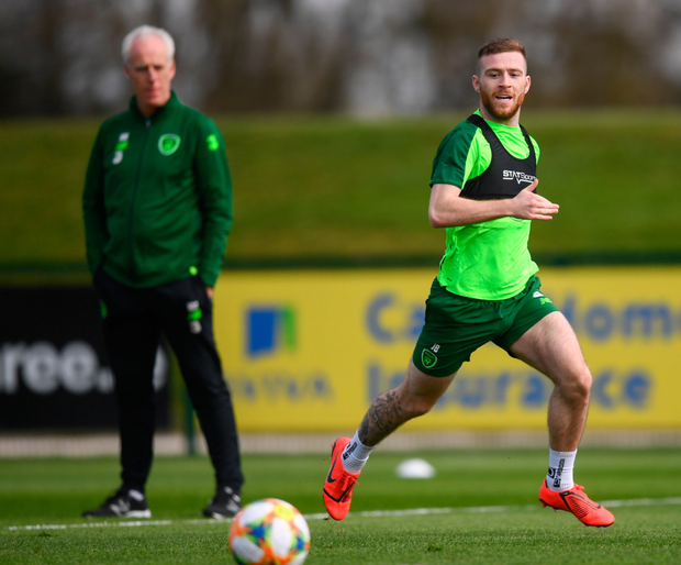 Jack Byrne trains under the watchful eye of Ireland boss Mick McCarthy at Abbotstown yesterday
