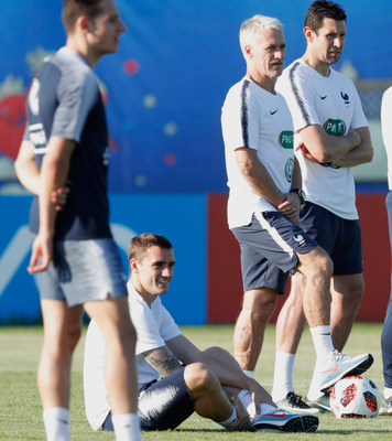STAR MAN: Antoine Griezmann takes a seat during training ahead of Sunday's World Cup final clash with Croatia.