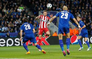 Atletico Madrid's Saul Niguez scores their first goal. Photo: Reuters