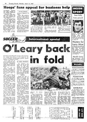 The back page of the Evening Herald on Monday April 13, 1987