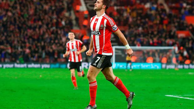 Southampton's Shane Long celebrates as he scores their fourth goal during their Premier League match against Arsenal at St Mary's Stadium on Saturday Photo:Getty