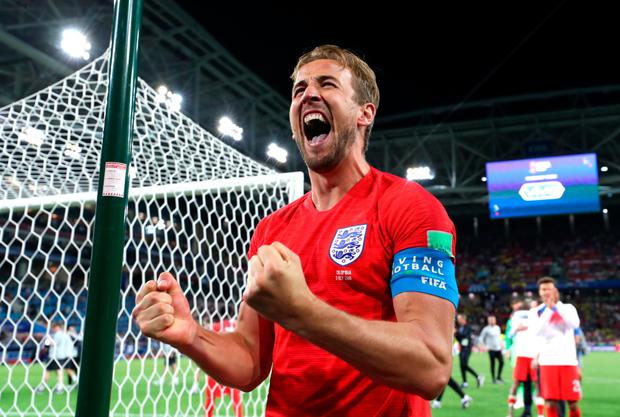 England captain Harry Kane celebrates
