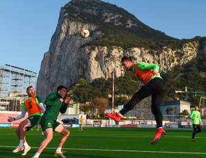 Shane Duffy rises for a header during training at the Victoria Stadium in Gibraltar yesterday