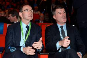 Ireland manager Martin O'Neill and assistant Roy Keane watch the draw in Paris