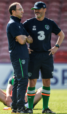 Ireland manager Martin O'Neill and assistant Roy Keane talk during training at Turner's Cross ahead of tonight's clash with Belarus Photo: Sportsfile