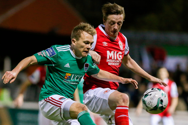 TUSSLE: St Pats' Chris Forrester in action against Cork City's Conor McCormack last Friday. Pic: Sportsfile