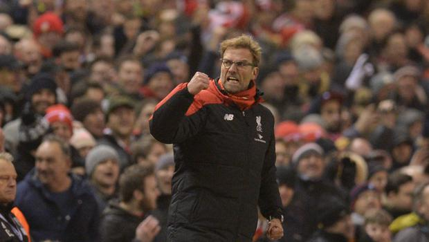 Liverpool manager Jurgen Klopp celebrates Divock Origi's late equaliser in the draw with West Brom at Anfield