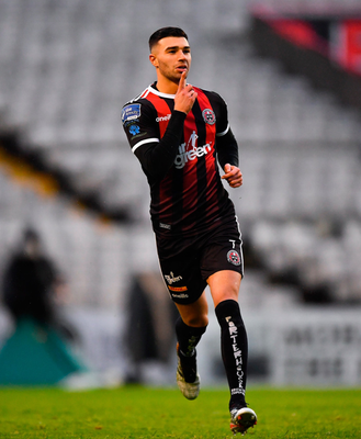 CRACKING SHOT: Daniel Mandroiu of Bohemians celebrates after scoring his side's winner in the SSE Airtricity League Premier Division clash against Shamrock Rovers at Dalymount Park. Photo: Seb Daly/Sportsfile