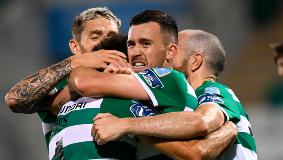 ON TOP: Shamrock Rovers players, including Aaron Greene, celebrate after Roberto Lopes scored their second goal during the SSE Airtricity League Premier Division match against Waterford at Tallaght Stadium last night. Pic: Sportsfile