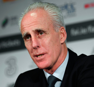 Ireland manager Mick McCarthy is pictured at yesterday's squad announcement