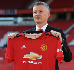 Gunnar Solskjaer is pictured after being unveiled as Manchester United manager on Thursday
