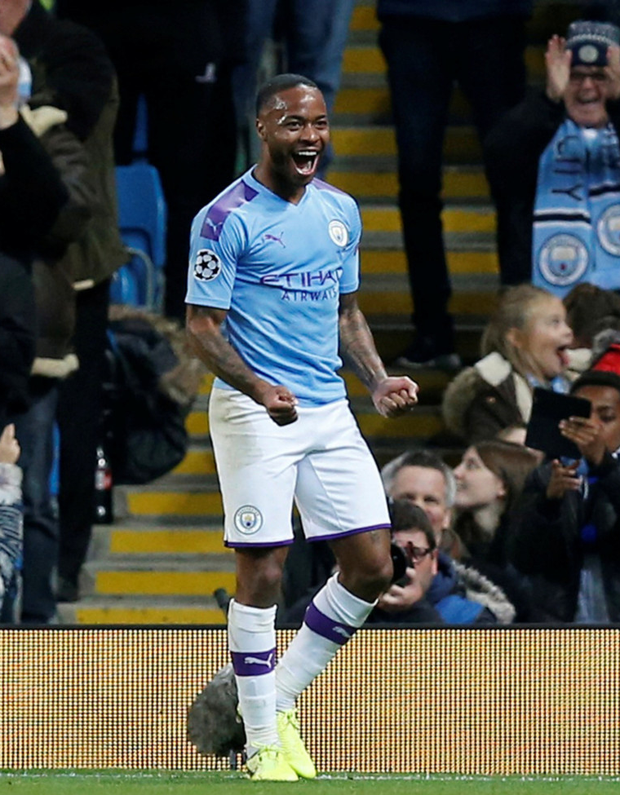 Manchester City's Raheem Sterling celebrates scoring their fifth goal and completing his hat-trick at the Ethiad on October 22, 2019. Photo: Reuters