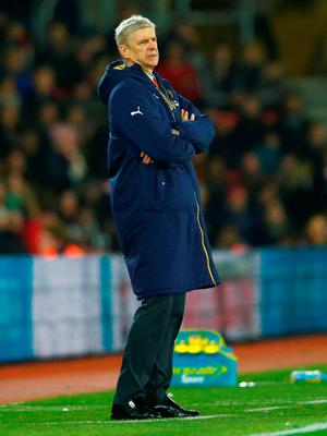 Arsenal boss Arsene Wenger looked an uncomfortable spectator at St Mary's Stadium on St Stephen's Day Photo:Getty