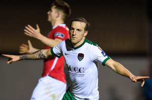 Cork City's Karl Sheppard celebrates after scoring his side's second goal during the SSE Airtricity League Premier Division match at Richmond Park last night. Photo: Eóin Noonan/Sportsfile