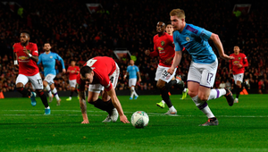 Manchester City's Belgian midfielder Kevin De Bruyne revealed they only spent 15 minutes working on the tactic that had United flumoxed in the first half of their League Cup semi-final
