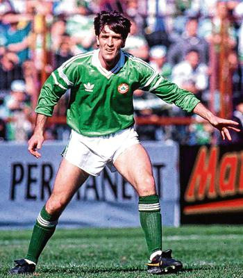 Bernie Slaven in action for Ireland during a 1990 friendly against Wales