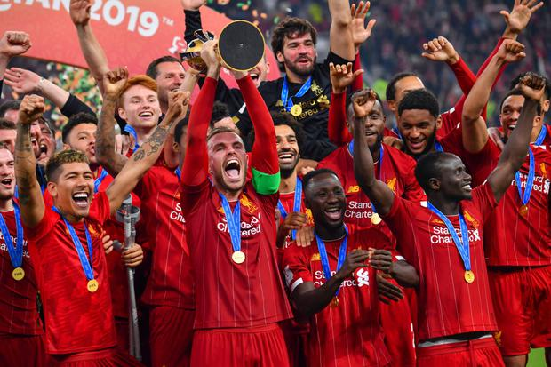 Liverpool celebrate winning the FIFA Club World Cup final last Saturday. Photo: Getty Images