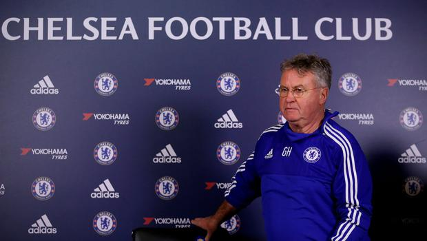 Chelsea's interim manager Guus Hiddink, pictured during the press conference at Cobham training ground yesterday (PA)