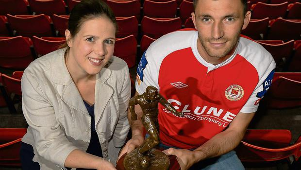 Killian Brennan is presented with the Airtricity / SWAI Player of the Month Award for May by Jillian Saunders, Airtricity. Photo: Sportsfile
