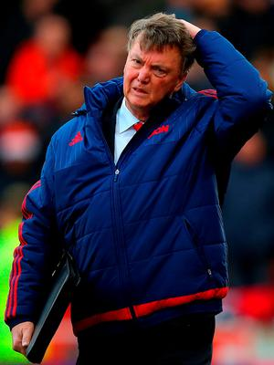 Manchester United manager Louis van Gaal walks out for the second half against Stoke City at the Britannia Stadium Photo:Getty
