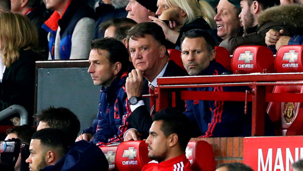 United boss Louis van Gaal sits in the technical area during last night's match