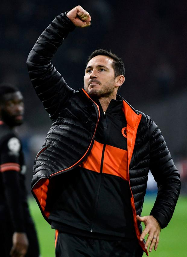 BOSS: Chelsea's manager Frank Lampard celebrates at the end of their Champions League victory over Ajax. Pic: Getty Images