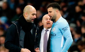 CONFIDENCE: Manchester City manager Pep Guardiola with Kyle Walker. Photo: PA