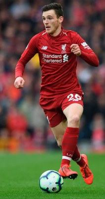 Liverpool's Andrew Robertson in possession during the Premier League win over Spurs at Anfield last Sunday