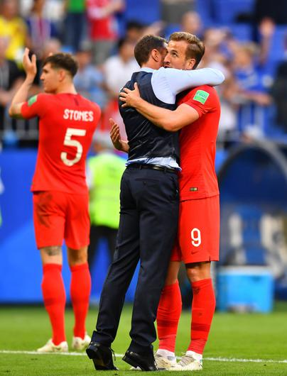 England manager Gareth Southgate and Harry Kane celebrate victory over Sweden on Saturday the match