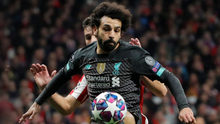 Liverpool's Mohamed Salah in action against Atletico Madrid last night in the Wanda Metropolitano in Madrid