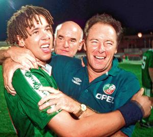 KING GEORGE: Liam George, manager Brian Kerr (right) and assistant coach Noel O'Reilly (centre) celebrate after being crowned European U-18 Champions in 1998.