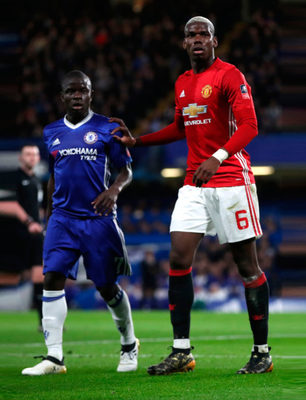 (l-r) Chelsea's French midfield dynamo N'Golo Kante and his fellowcountryman, Manchester United's Paul Pogba, will do battle again at Old Trafford tomorrow. Photo: PA