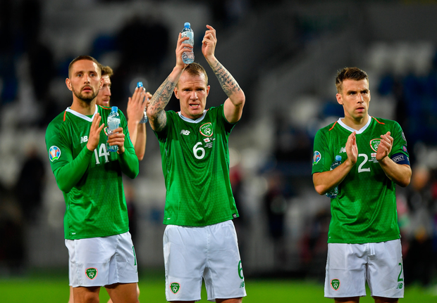 VETERAN: Will Glenn Whelan (r) be physically up to the task of taking on the Swiss just a few days after the Georgia tie? Pic: Sportsfile