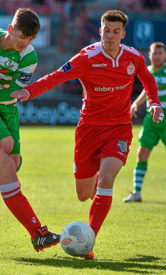 One of Shelbourne's young stars Robert Duggan (r). Photo: Paul Mohan/Sportsfile