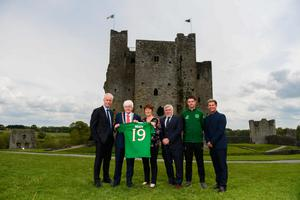 Republic of Ireland manager Mick McCarthy, Tom Kelly, Cathaoirleach, Meath County Council, Mary Murphy, Manager of Meath Local Sports Partnership, FAI Vice-President Noel Fitzroy, Barry Ferguson, FAI Football Development Officer, and Republic of Ireland women's team manager Colin Bell at the launch of the 2019 FAI AGM and Festival of Football. Pic: Sportsfile