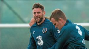 Republic of Ireland's Daryl Murphy in action during squad training