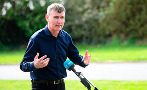MEETING THE PRESS: Republic of Ireland manager Stephen Kenny during an interview with RTÉ close to his home in Co Louth. Photo: SPORTSFILE