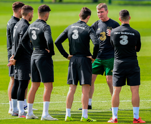 Stephen Kenny talks to his players during a Republic of Ireland training session at the FAI National Training Centre in Abbotstown