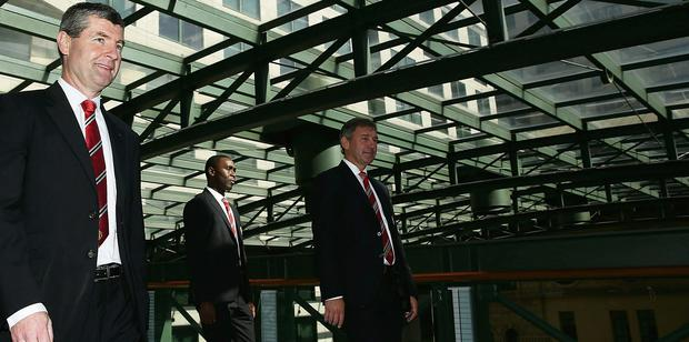 (L-R) Dennis Irwin, Andy Cole and Bryan Robson arrive for the official Manchester United official lunch at Westin Hotel on July 18, 2013 in Sydney, Australia.  Photo: Mark Metcalfe/Getty Images