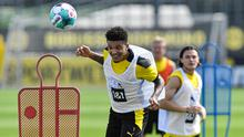 HEAD'S UP: Borussia Dortmund's Jadon Sancho during training this week with the German club