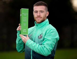 TOP OF THE PILE: Shamrock Rovers' Jack Byrne is pictured with his Airtricity/Soccer Writers' Association of Ireland Player of the Month award for March