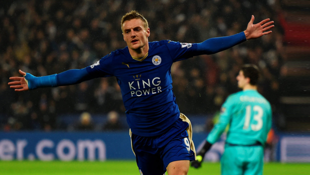 Leicester City striker Jamie Vardy celebrates after giving his side the lead in their Premier League win over Chelsea at the King Power stadium last night.