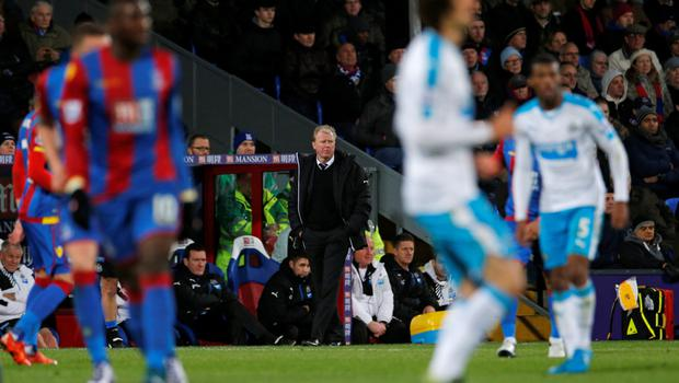 Newcastle manager Steve McClaren is pictured during the 5-1 rout by Crystal Palace last Saturday