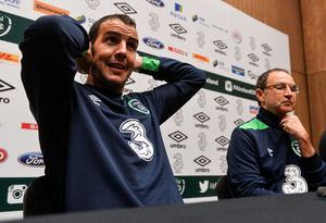 John O'Shea is pictured during an Ireland press conference with manager Martin O'Neill ahead of tonight's friendly against The Netherlands at the Aviva Stadium. Photo: Sportsfile