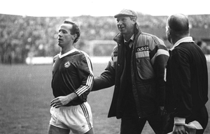 CRUEL BLOW: Jack Charlton ushers Liam Brady off after his red card against Bulgaria in 1987.