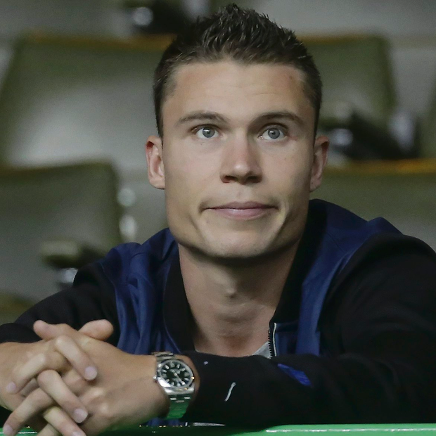 Celtic's new signing Derk Boerrigter in the stands during the Champions League qualifying match at Celtic Park. Picture credit: Danny Lawson/PA Wire