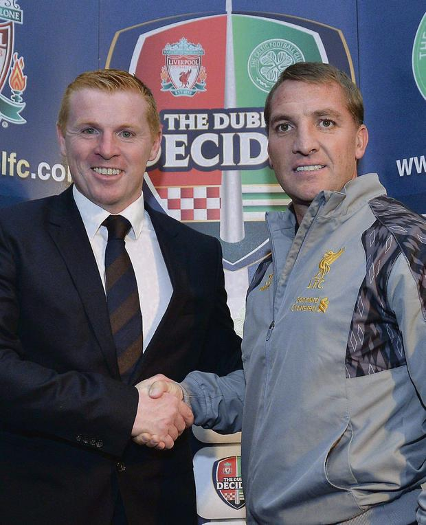 DUBLIN DATE: Liverpool manager Brendan Rodgers (right) and Celtic manager Neil Lennon during a press conference ahead of today friendly match, during a pre-match press conference at the Mansion House, Dublin.