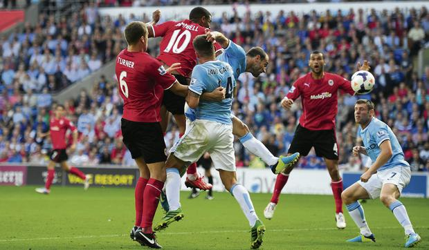 Cardiff City's Fraizer Campbell (10) heads in the third Cardiff goal. Picture: Stu Forster/Getty Images