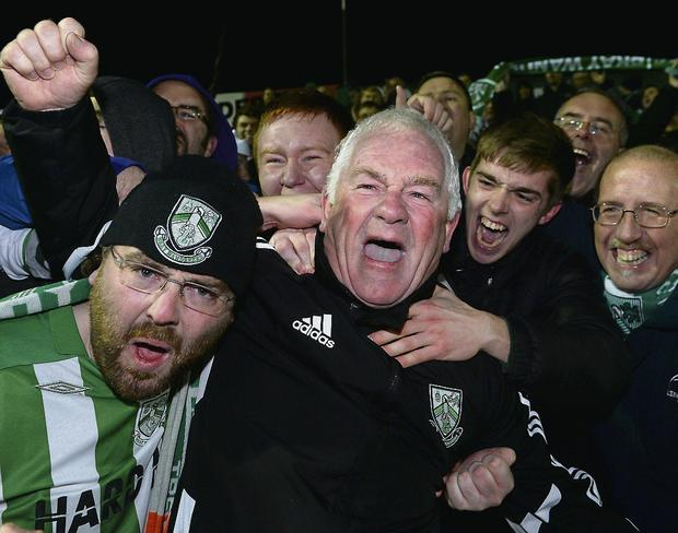 RELIEF: Bray Wanderers manager Pat Devlin celebrates with supporters after securing Premier Division status in Longford.