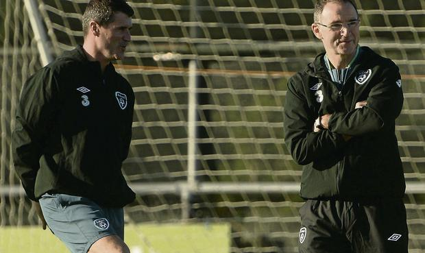 Republic of Ireland assistant manager Roy Keane during squad training. Picture: David Maher/Sportsfile